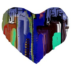 Abstract City Design Large 19  Premium Heart Shape Cushions