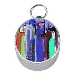 Abstract City Design Mini Silver Compasses