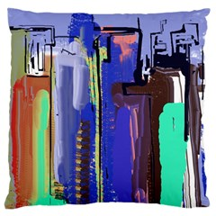 Abstract City Design Large Flano Cushion Cases (One Side)