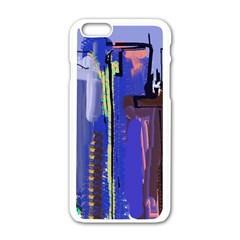 Abstract City Design Apple iPhone 6 White Enamel Case