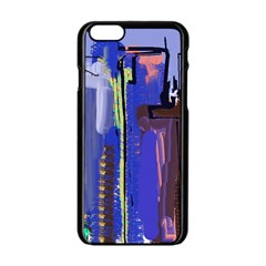 Abstract City Design Apple iPhone 6 Black Enamel Case