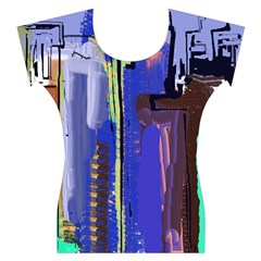 Abstract City Design Women s Cap Sleeve Top