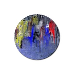 Hazy City Abstract Design Rubber Round Coaster (4 pack)