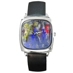 Hazy City Abstract Design Square Metal Watches