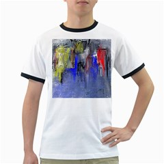 Hazy City Abstract Design Ringer T-Shirts