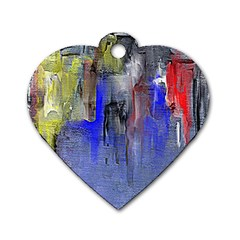Hazy City Abstract Design Dog Tag Heart (Two Sides)