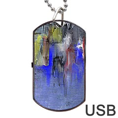 Hazy City Abstract Design Dog Tag USB Flash (One Side)