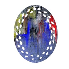 Hazy City Abstract Design Oval Filigree Ornament (2 Side)