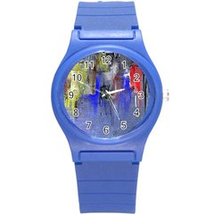 Hazy City Abstract Design Round Plastic Sport Watch (s)
