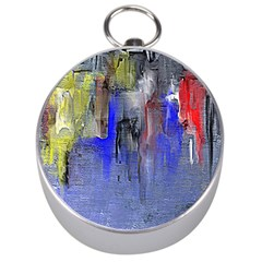 Hazy City Abstract Design Silver Compasses