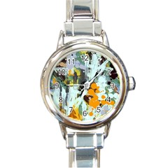 Abstract Country Garden Round Italian Charm Watches