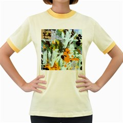 Abstract Country Garden Women s Fitted Ringer T-Shirts