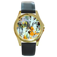 Abstract Country Garden Round Gold Metal Watches