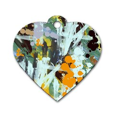 Abstract Country Garden Dog Tag Heart (Two Sides)
