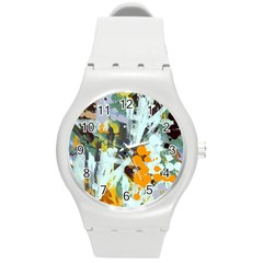Abstract Country Garden Round Plastic Sport Watch (m)