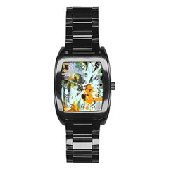 Abstract Country Garden Stainless Steel Barrel Watch