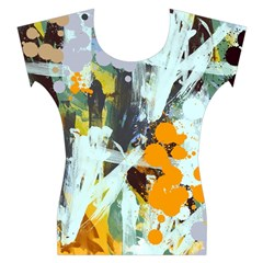 Abstract Country Garden Women s Cap Sleeve Top
