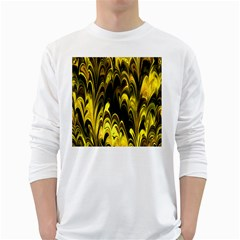 Fractal Marbled 15 White Long Sleeve T-Shirts