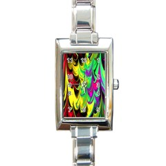 Fractal Marbled 14 Rectangle Italian Charm Watches