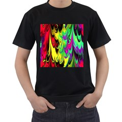 Fractal Marbled 14 Men s T-Shirt (Black) (Two Sided)