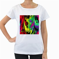 Fractal Marbled 14 Women s Loose-Fit T-Shirt (White)