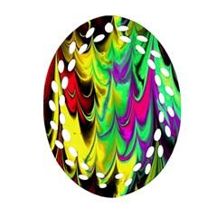 Fractal Marbled 14 Ornament (Oval Filigree)