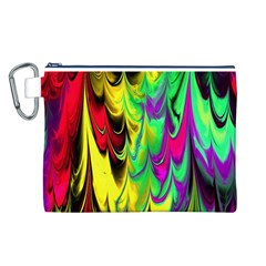 Fractal Marbled 14 Canvas Cosmetic Bag (L)