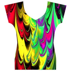 Fractal Marbled 14 Women s V-Neck Cap Sleeve Top