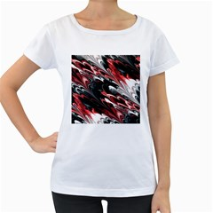Fractal Marbled 8 Women s Loose Fit T Shirt (white)