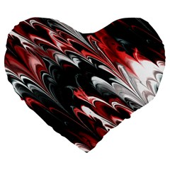 Fractal Marbled 8 Large 19  Premium Flano Heart Shape Cushions