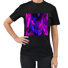 Fractal Marbled 13 Women s T Shirt (black) (two Sided)