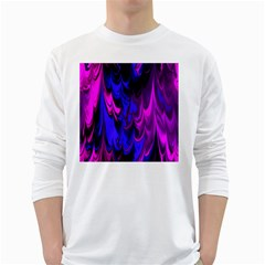 Fractal Marbled 13 White Long Sleeve T-Shirts