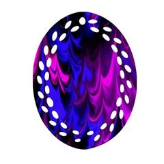 Fractal Marbled 13 Oval Filigree Ornament (2 Side)