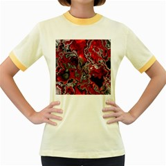 Fractal Marbled 07 Women s Fitted Ringer T Shirts