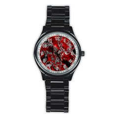 Fractal Marbled 07 Stainless Steel Round Watches