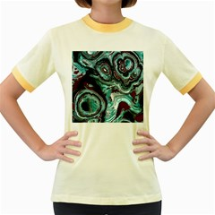 Fractal Marbled 05 Women s Fitted Ringer T-Shirts