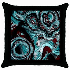 Fractal Marbled 05 Throw Pillow Cases (black)