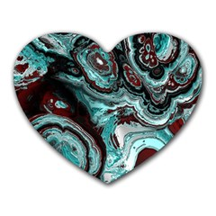 Fractal Marbled 05 Heart Mousepads