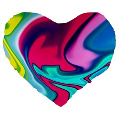Fluid Art 22 Large 19  Premium Flano Heart Shape Cushions