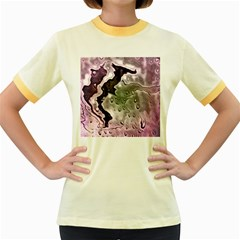 Wet Metal Pink Women s Fitted Ringer T-Shirts