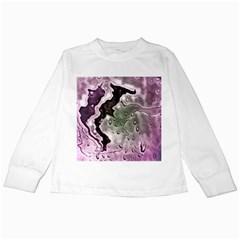 Wet Metal Pink Kids Long Sleeve T-Shirts