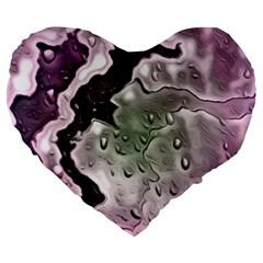 Wet Metal Pink Large 19  Premium Flano Heart Shape Cushions