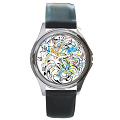 Abstract Fun Design Round Metal Watches