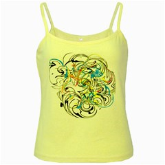 Abstract Fun Design Yellow Spaghetti Tanks