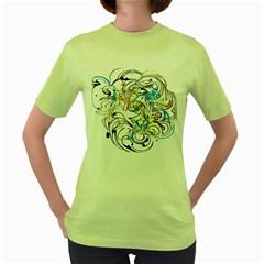 Abstract Fun Design Women s Green T Shirt
