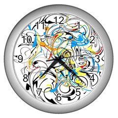 Abstract Fun Design Wall Clocks (silver)