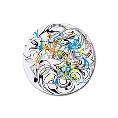 Abstract Fun Design Rubber Round Coaster (4 pack)
