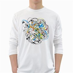 Abstract Fun Design White Long Sleeve T-Shirts