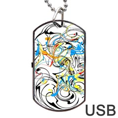 Abstract Fun Design Dog Tag USB Flash (Two Sides)