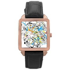 Abstract Fun Design Rose Gold Watches